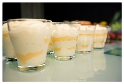 Lemon curd en vanille mousse verrine