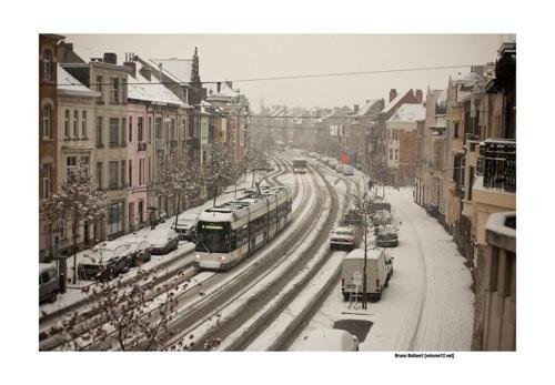 Tram 4 in de sneeuw