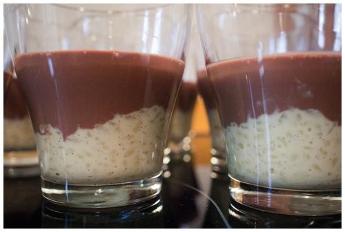 Vanille rijstpudding en chocolade panna cotta door Bruno Bollaert